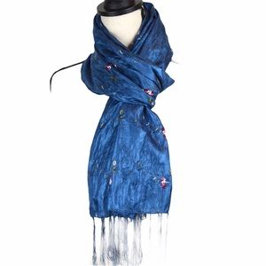 Firenze Silk Blend Embroidered Wrinkly Scarf